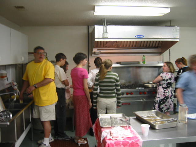 We had help preparing breakfast from the youth--That's a blur of Lovely Wife on the far right
