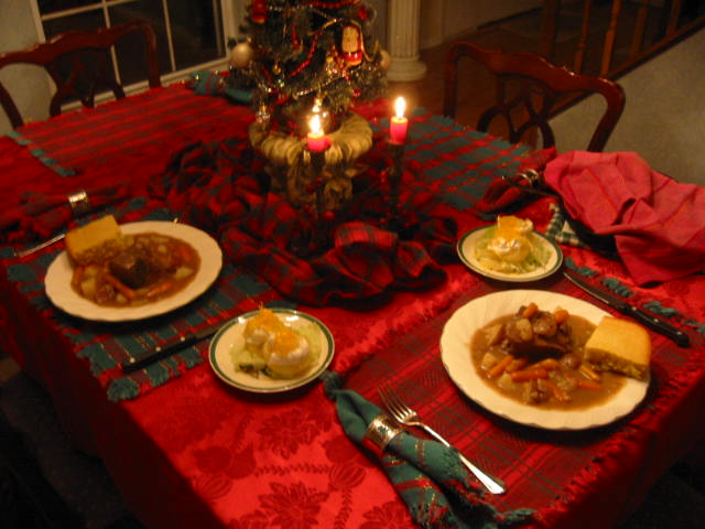 A quiet New Year's Day candle lit dinner for two