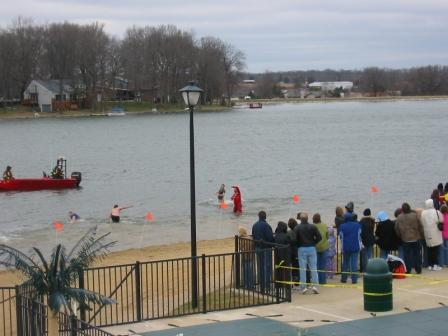 Crazy people swimming in January